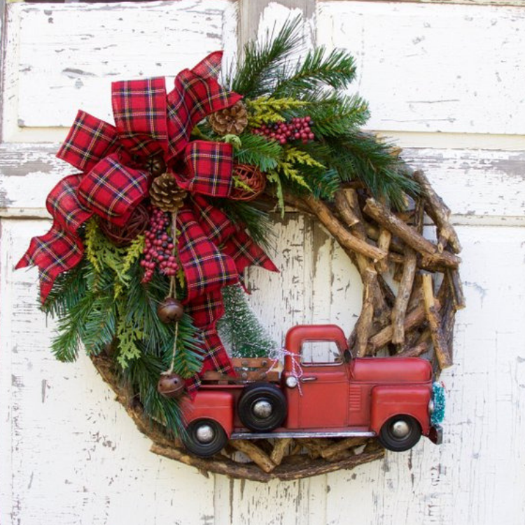 Vintage Red Truck Christmas Decor.Vintage Holiday Decor With The Classic Red Truck And
